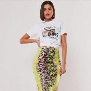 Missguided Lime Floral Midi Side Split Skirt
